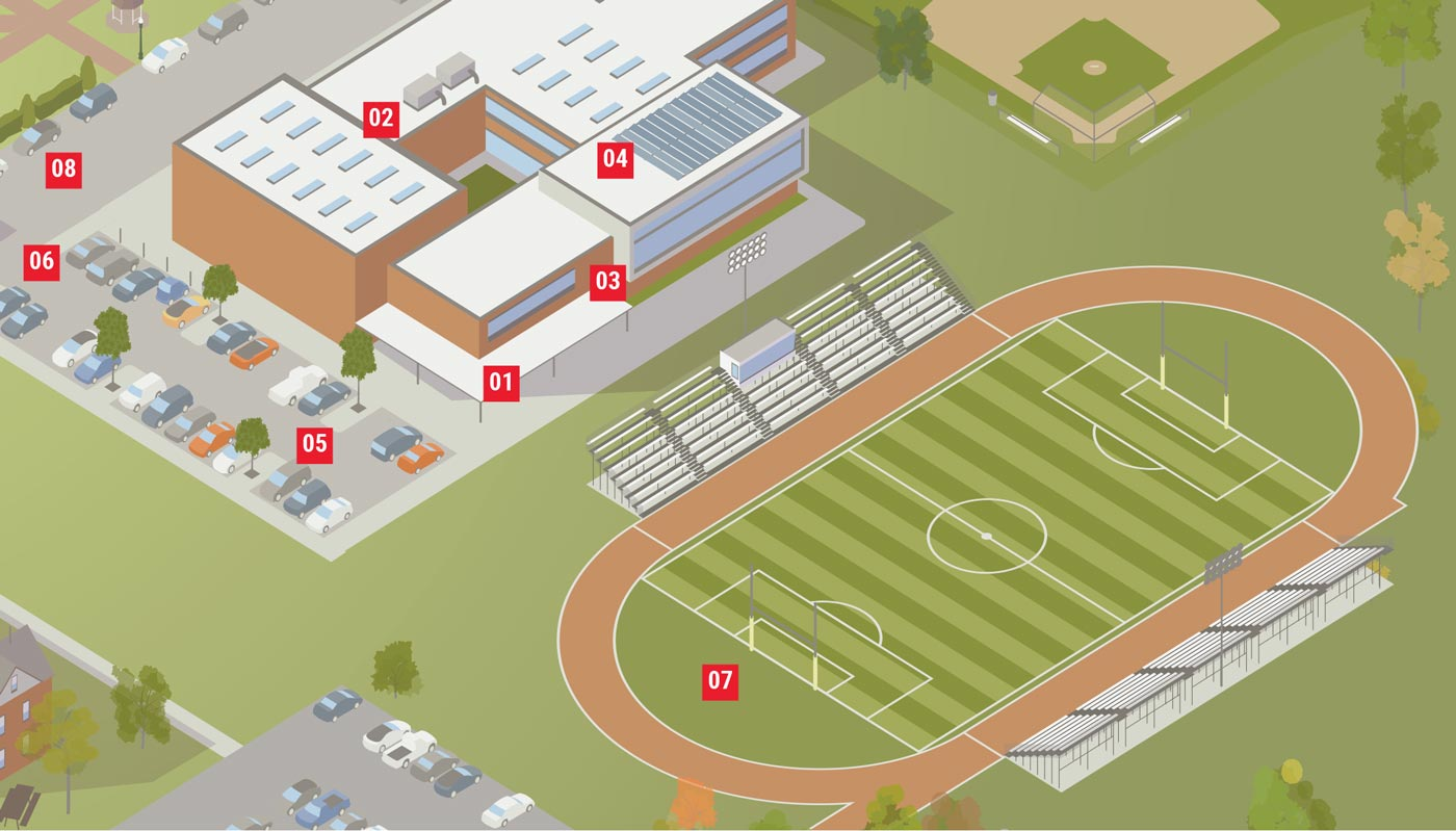 Map showing use of surveillance cameras on a campus